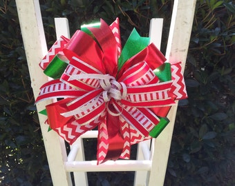 Holiday Whimsical Christmas Tree Topper Red Green White Silver Christmas Bow Satin Glitter Wreath Fence Mailbox Chair Decoration
