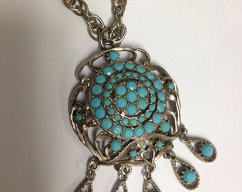 Vintage Slver Necklace with Turquoise  Rhinestones