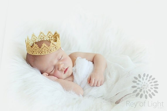 Newborn Crown, Sweetest Little Gold Lace Crown, Newborn Photography Prop, Baby Crown, Lace Crown, Infant Crown