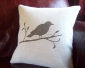 Bird Pillow Cover - Burlap Pillow Cover - Bird on a Branch Decorative Pillow Cover - Choose Your Colors and Size