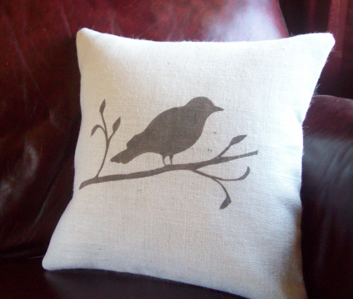 Decorative Pillows With Bird Design : Bird Pillow Cover Bird on a Branch Hand Painted Decorative