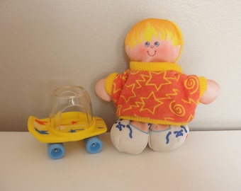 Vintage Fisher Price Smooshees - Seth and His Skateboard