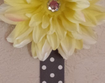 Grey and Yellow Flower Hair Clip Organizer- Ready to Ship