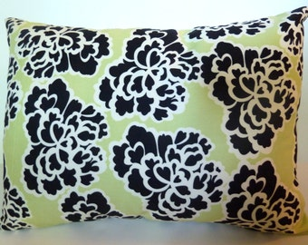 Mod Green and Black Floral Pillow Cover Accent Throw 3 sizes