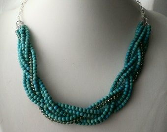 Turquoise Statement Necklace, Turquoise Braid Necklace, Statement Necklace, Beadwoven Turquoise