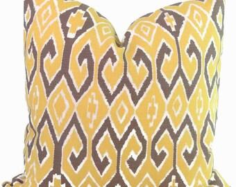 Quadrille China Seas Aquarius Ikat Yellow Gray Pillow Cover Square, Eurosham or Lumbar pillow Accent Pillow, Throw Pillow, Toss Pillow