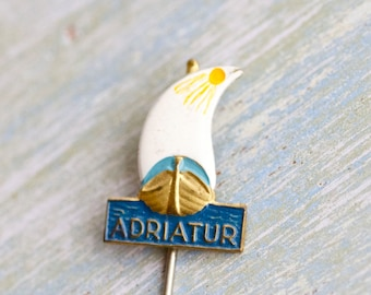 Sailing Boat Lapel Pin - Nautical Stick Pin - Miniature Enamel Adriatur