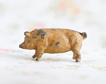 Lead Pig - Antique Farm Toy _ iron Cast Miniature - Made in England