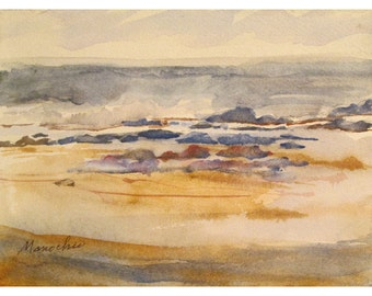 Cape May, after a northeaster - Original 5 by 7 watercolor