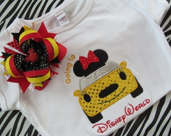 Disney Vacation-Going to Disney World-Car Shirt with Matching Bow-Red and Yellow