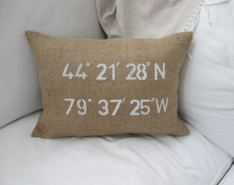 Latitude and Longitude CO-ORDINATES Burlap Pillow Cover -12x18- Shabby chic, french country home decor, housewarming -Nautical wedding decor