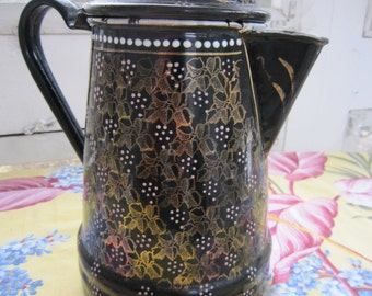 Antique Enameled Pitcher Black and Gold  with Lid-Czech