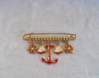 Vintage Nautical Enamel and Gold Brooch Anchors away
