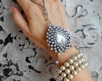 Art Deco Slave Bracelet, Pearl, Rhinestone, Hand Chain, Twenties, Flapper, Assemblage, Gatsby Inspired