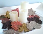 Decorative Glitter Fall Leaves, Fall Decor, Thanksgiving Table Decor