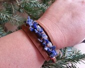 Equestrian leather wrap bracelet in fawn with denim lapis chips and copper