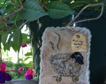 Prim Needle punch Pulltoy Sheep Hanging pillow Bowl filler Shelf sitter