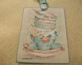 XL Vintage Stackable Tea Cup Gift Tags  ( Set of 6 )   AF 011