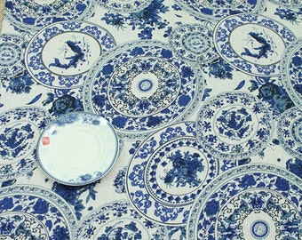 chinese porcelain dishes pattern cotton and linen fabric one yard