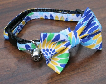 Cat Collar - Hawaii Blue - Matching Bow Tie and Flower Available