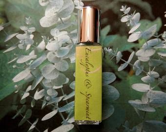 Eucalyptus and Spearmint Perfume Oil - Aromatherapy, Relax, Energize - Roll On Perfume - 8mL