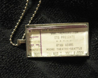 Ryan Adams@ The Moore Theatre Seattle, WA 2002 Concert Ticket Stub Necklace