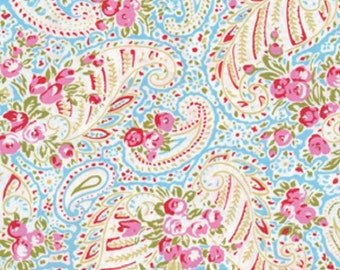 18 X 20 LAMINATED cotton fabric (similar to oilcloth) - Paisley Blue Delilah BPA free Approved for children's products