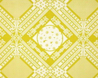 20 x 20 LAMINATED cotton fabric yardage (similar to oilcloth) - Lou Lou Framed citron gold BPA free - Approved for children