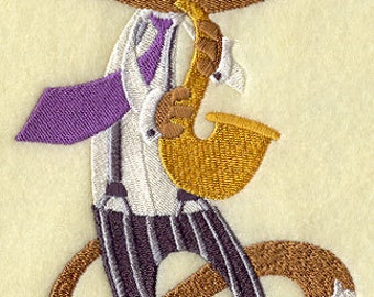 Jazz Cat on the Saxophone Sax Embroidered Flour Sack Hand/Dish Towel