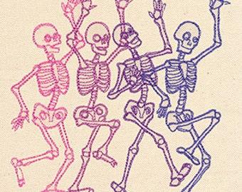 Danse Macabre Skeleton Dancing Group Embroidered Flour Sack Hand/Dish Towel