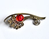 Vintage Sterling Silver Basket Brooch with Red Faceted Stone