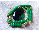 Stunning green geode Agate pendant necklace/ gold crystal/ green glass/ green topaz/ gold tone necklace