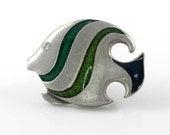 Vintage Zebra Fish Razza Brooch green enamel nautical jewelry