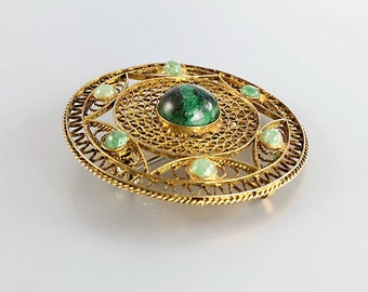 Chinese Export Brooch Pendant, Vintage jewelry Malachite sterling silver, Vermeil Gold Filled Filigree