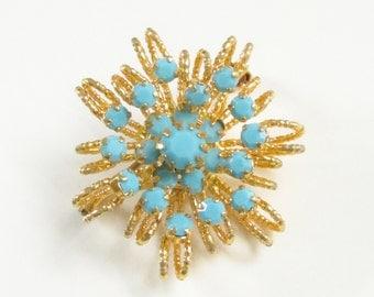 SALE Turquoise Blue Rhinestone Atomic Brooch Vintage Jewelry