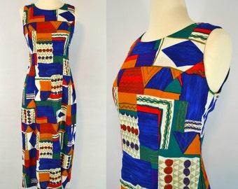 Vintage Abstract/Geometric Print Sleeveless Sundress by Leslie Lucks, 80s Fashion, Sleeveless, Color Block Dress