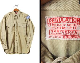 Vintage WW2 Military Shirt US Army Vat Dyed Sanforized Boldwin Regulation - Small