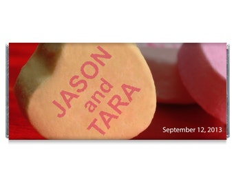 Candy Heart Wedding Personalized Candy Bar Wrappers - Heart Wedding Favors - Set of 12