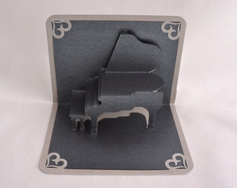 PIANO RECITAL INVITATION 3d Pop Up Card Home Decor Hand Cut Origamic Architecture in Metallic Black on Bright Shimmery Metallic Silver. OOaK