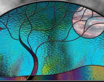 Stained Glass Window Panel Large Moonlit tree Arch