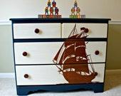 Pirate Ship Stencil Blue Dresser/Kids Bedroom Furniture/Boy Furniture/Toy Chest