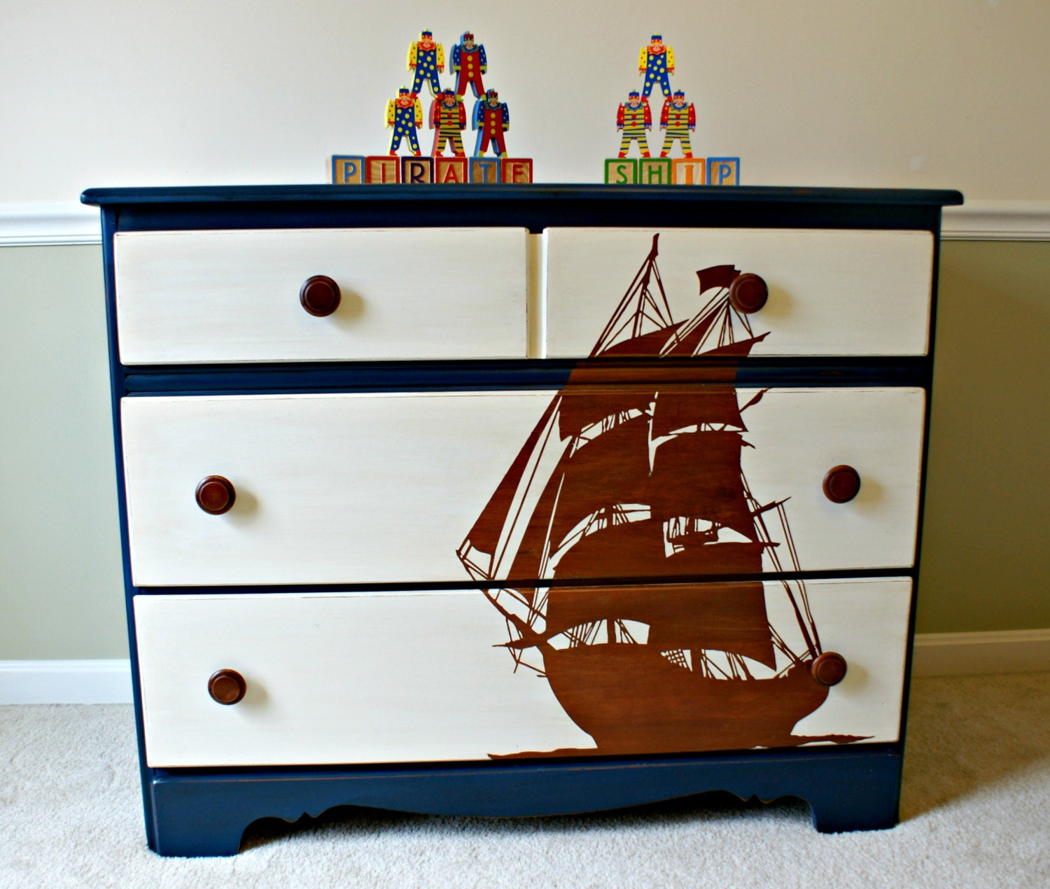 Pirate Ship Stencil Blue Dresser Kids Bedroom Furniture Boy
