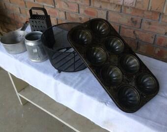 Vintage kitchen utensils, vintage muffin tin, vintage dish lot