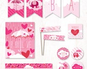 Showered with Love Baby Shower - Instant Download PRINTABLE Party Kit (Pink)