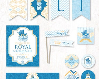 Royal Prince Baby Shower - Instant Download PRINTABLE Party Kit (Blue & Gold)