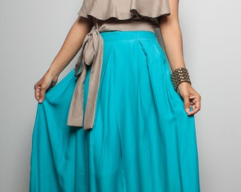 Long Skirt - Floor Length Turquoise Maxi Skirt : Feel Good Collection No.3