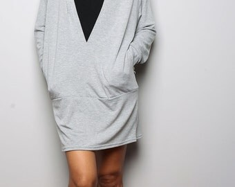 Grey Tunic / Trendy Blouse Tunic / Dress with Hood - Short Long Sleeve Dress : Urban Chic Collection No.14