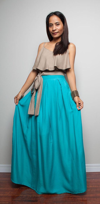 skirt floor length turquoise maxi skirt feel