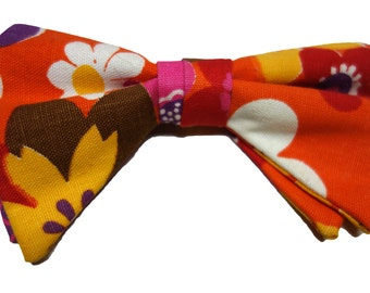 70s Flower Power Clip-on BOW TIE