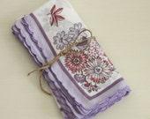 Four (4) Vintage Ladies Handkerchiefs - Ladies Vintage Hankies - 1970s Lavender & Rosie Pink Hankies - Floral and Butterfly Teatime Napkins